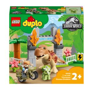 LEGO DUPLO T. rex and Triceratops Dinosaur Breakout Toy for Toddlers (10939)