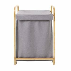 Grey and Bamboo Laundry Hamper