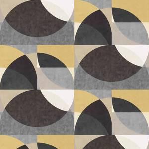 Elle Decoration Geometric Black Gold Cream Wallpaper