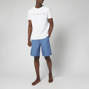Tommy Hilfiger Men's Short Sleeve Woven Sleep Set - White/Iron Blue