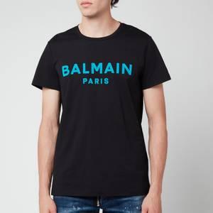 Balmain Men's Flock Logo T-Shirt - Black/Blue