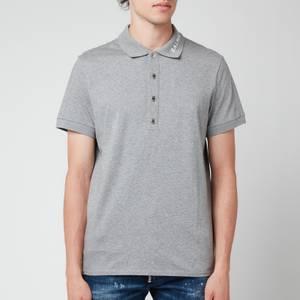 Balmain Men's Printed Collar Polo Shirt - Grey/White