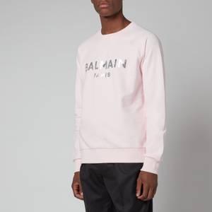 Balmain Men's Eco Sustainable Foil Sweatshirt - Pale Pink/Silver