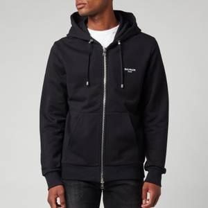 Balmain Men's Eco Design Flock Zip-Through Hoodie - Black/White