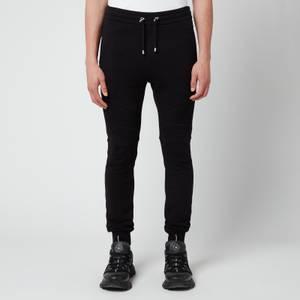 Balmain Men's Printed Ribbed Sweatpants - Black/White