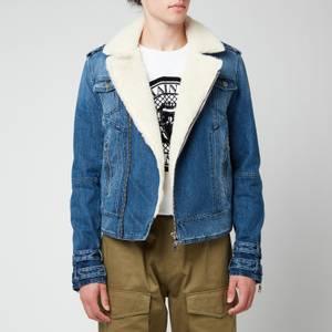 Balmain Men's Sherpa Biker Denim Jacket - Blue
