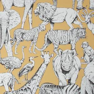 Jungle Animals Yellow Wallpaper