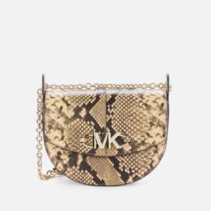MICHAEL Michael Kors Women's Izzy Python Saddle Cross Body Bag - Camel