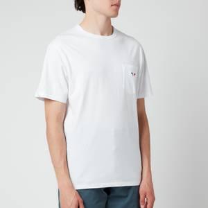 Maison Kitsuné Men's Tricolour Fox Patch Classic Pocket T-Shirt - White