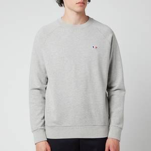 Maison Kitsuné Men's Tricolour Fox Patch Clean Sweatshirt - Grey Melange