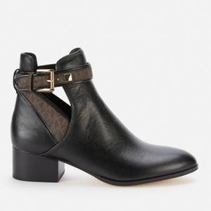 MICHAEL Michael Kors Women's Britton Leather Heeled Ankle Boots - Black/Brown
