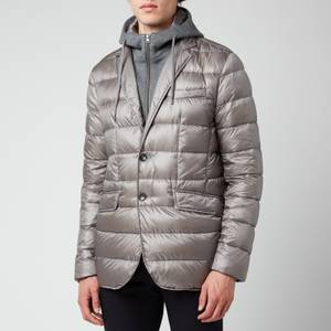 Herno Men's Nylon Ultralight + Knit Effect Detachable Hooded Bib Blazer - Grey