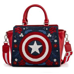 Loungefly Marvel Captain America 80th Anniversary Floral Sheild Cross Body Bag