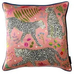 Karen Mabon Snow Leopards Cushion - Pink - 45x45cm