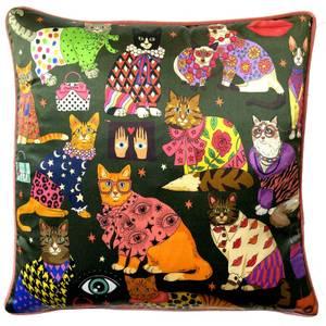 Karen Mabon Fashion Cats Cushion - Green - 45x45cm
