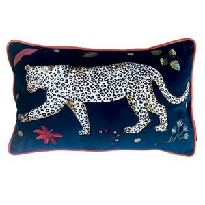 Karen Mabon Leopard Embroidered Cushion Left - 38x45cm