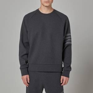 Thom Browne Men's Four-Bar Raglan Sleeve Waffle Knit Sweatshirt - Charcoal