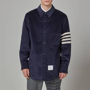 Thom Browne Men's Four-Bar Snap Front Shirt Jacket - Navy