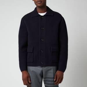 Thom Browne Men's Intarsia Tricolour Stripe Boiled Wool Jacket - Navy