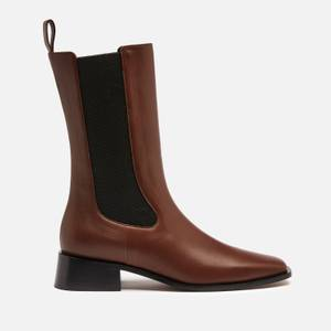 Neous Women's Pros Leather Mid Calf Chelsea Boots - Chocolate