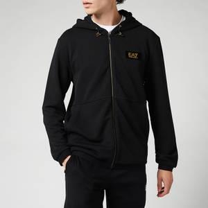 EA7 Men's Gold Label Zip-Through Hoodie - Black