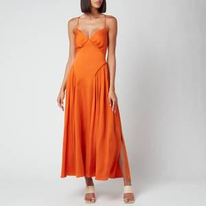 Self-Portrait Women's Burnt Orange Tie Bodice Midi Dress - Burnt Orange