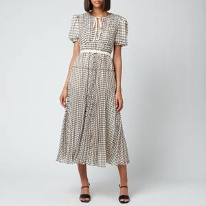 Self-Portrait Women's Check Midi Dress - Monochrome