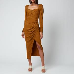 Self-Portrait Women's Stretch Crepe Midi Dress - Tapenade