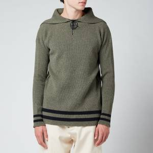 Maison Margiela Men's Relaxed Collar Pullover Hoodie - Military/Navy