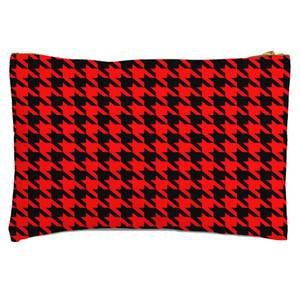 Red Dogtooth Zipped Pouch