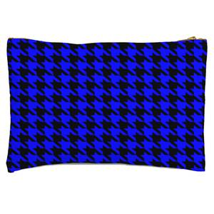 Blue Dogtooth Zipped Pouch
