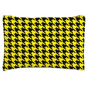 Yellow Dogtooth Zipped Pouch