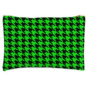 Green Dogtooth Zipped Pouch