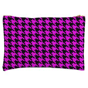 Pink Dogtooth Zipped Pouch