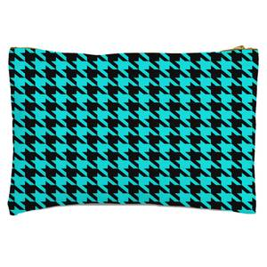 Turquoise Dogtooth Zipped Pouch
