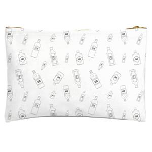 Gin Bottles Black And White Zipped Pouch