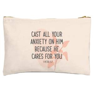 Cast All Your Anxiety On Him Because He Cares For You Zipped Pouch