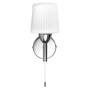 Savoy wall light with ribbed opal glass shade