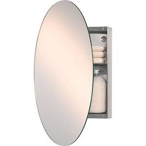 Oval Mirror with Concealed Stainless Steel Cabinet