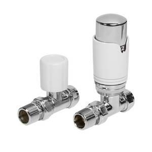 White Straight Thermostatic Radiator Valve & Lockshield Set