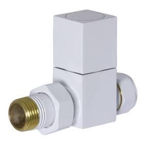 White Straight Square Manual Radiator Valve & Lockshield Set