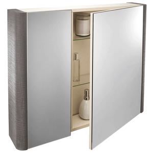 Linen 800mm Mirror Wall Cabinet - Grey