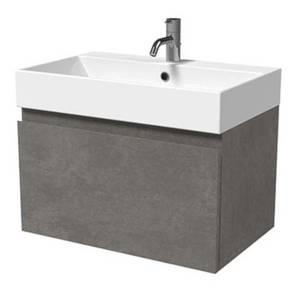 Mino 600mm Basin & Wall Mounted Vanity Unit - Concrete