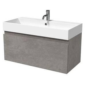 Mino 800mm Basin & Wall Mounted Vanity Unit - Concrete