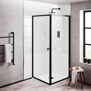 Noir 900mm Matt Black Shower Side Panel