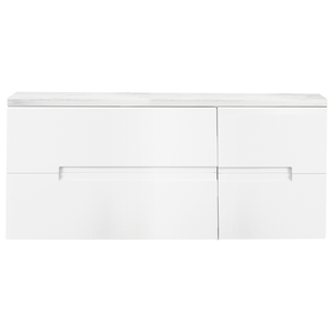 Vermont 1200mm Gloss White Wall Mounted Unit with Carrara White Worktop