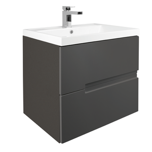 Vermont 600mm Wall Mounted Vanity Unit - Gloss Grey