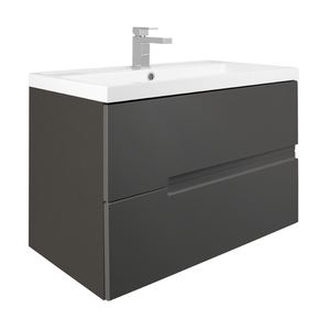 Vermont 800mm Wall Mounted Vanity Unit - Gloss Grey