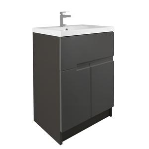 Vermont 600mm Floorstanding Vanity Unit - Gloss Grey