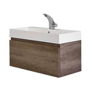 Mino 800mm Basin & Wall Mounted Vanity Unit - Nebraska Oak